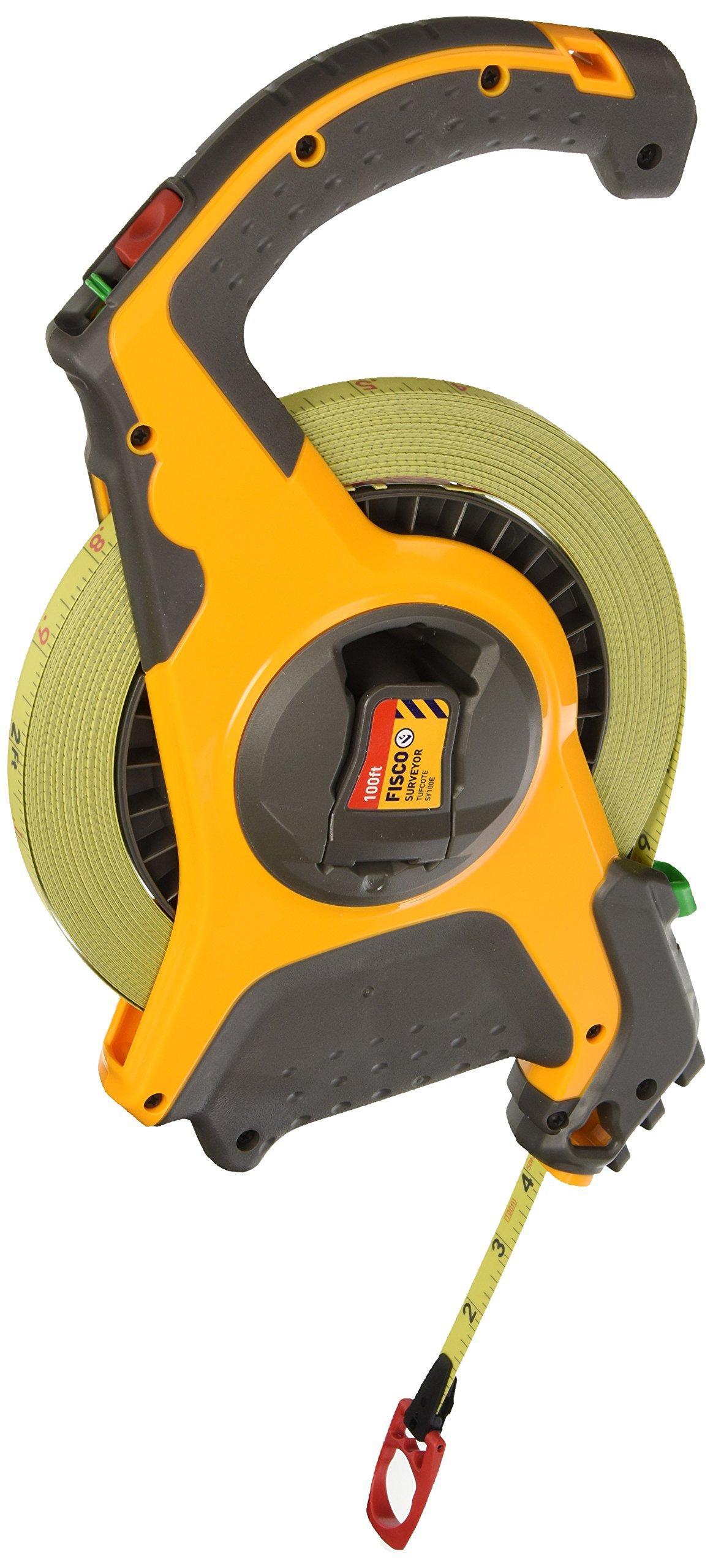 Fisco Tools SY100E Surveyor-Feets Steel Long Tape, 1/2-Inch by 100-Feet
