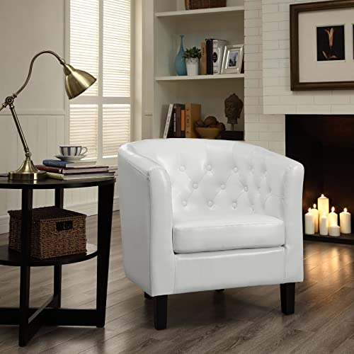 Modway Prospect Upholstered Fabric Contemporary Modern Accent Arm Chair in White Faux Leather
