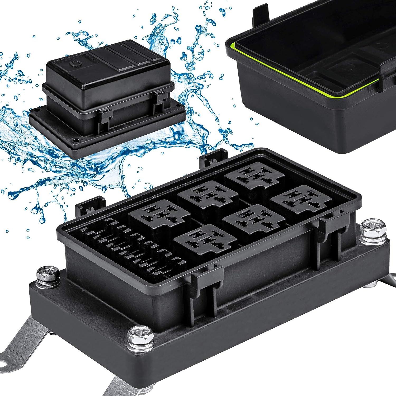 12v auto waterproof fuse relay box block [6 bosch style relay holder] [6  atc/ato fuse holder] universal relay block box for 12v automotive vehicles  cars marine boat light equipment: automotive - amazon.com  amazon.com
