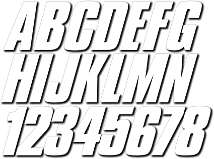 Hypalon//PVC Inflatable Boats Ribs STIFFIE Shift White Super Sticky 3 Alpha Numeric Registration Identification Numbers Stickers Decals for Sea-Doo Spark PWC and Boats.