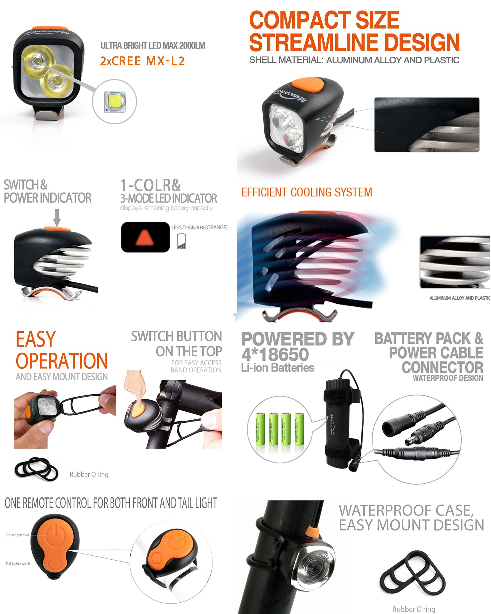 Magicshine MJ 902, 1600 Lumens Bike Light Set, Wireless Remote Bicycle Lights Front And Rear Combo, Rechargeable 2 CREE XM-L2 LED Bike Tail Light, Portable & Convenient Bright Bike Light by Magicshine (Image #3)