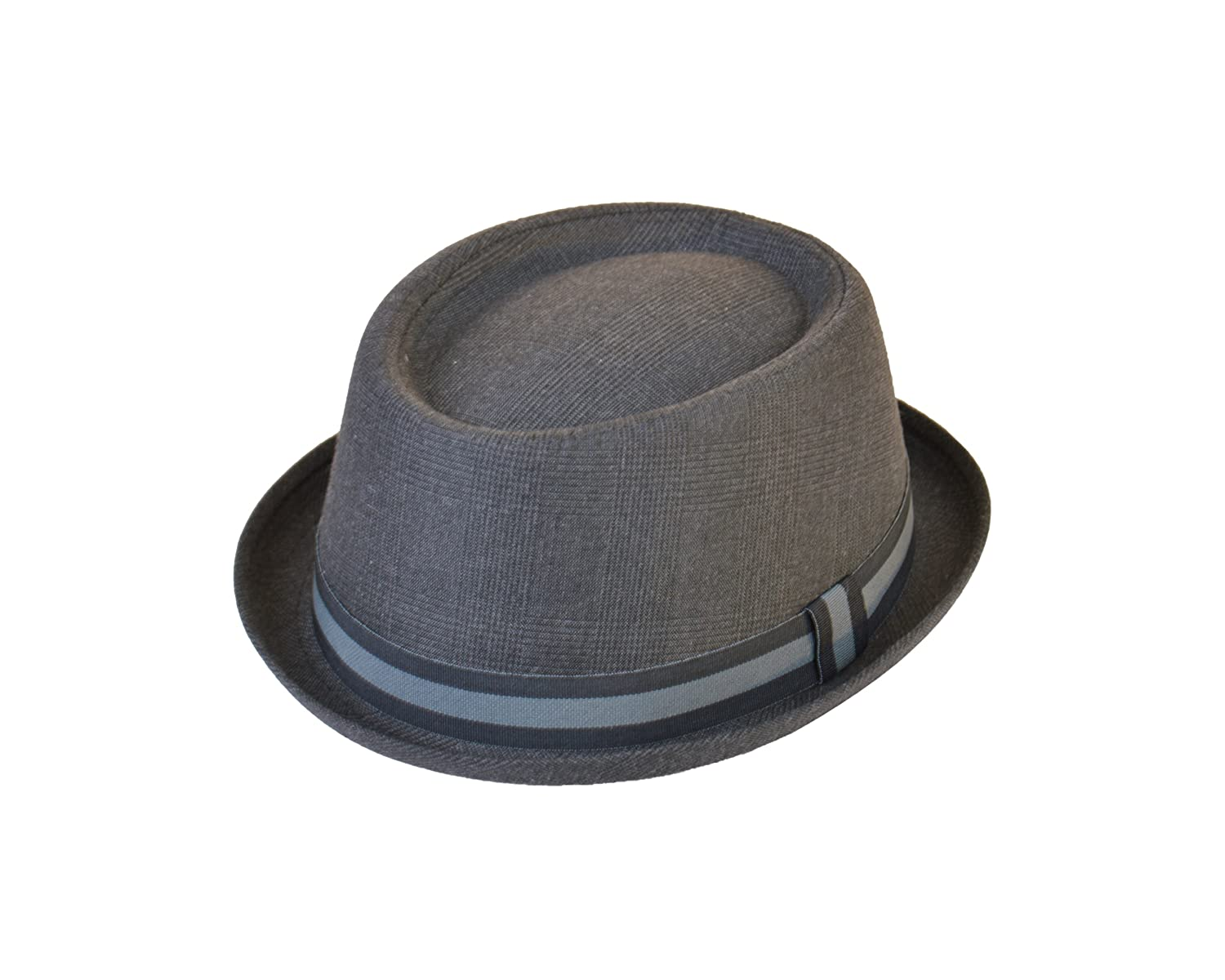 Adults Unisex Classic Tweed Pork Pie Hat in Grey, Medium/Large