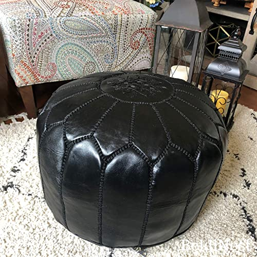 BeldiNest Moroccan Pouf Ottoman Leather Pouf Round Ottoman Leather Pouf