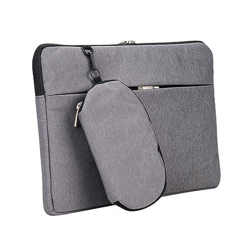 Maletín para ordenador portátil, ultra delgado, con doble cremallera, con bolsillo delantero y trasero oculto, extraíble y pequeño, bolsa de accesorios, ...