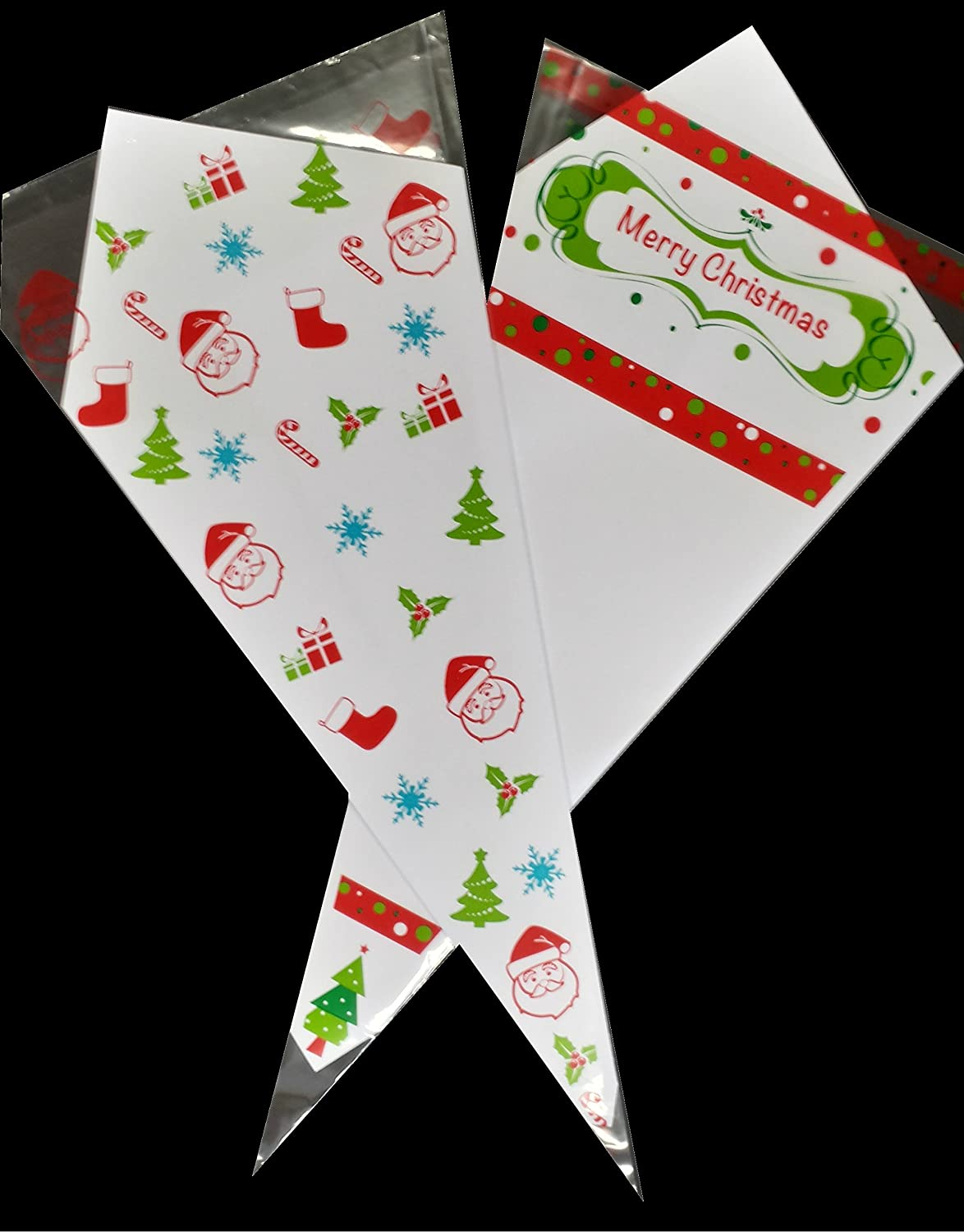 10 Mixed Santa & Christmas Patterned Coloured Cello Cone Party Bags - Packed by the CandyRushTM Charity - (18x37cm) Xmas Holiday Kids Cellophane Gift Bag for Candy Sweets & Treats Acceptable Enterprises Larne