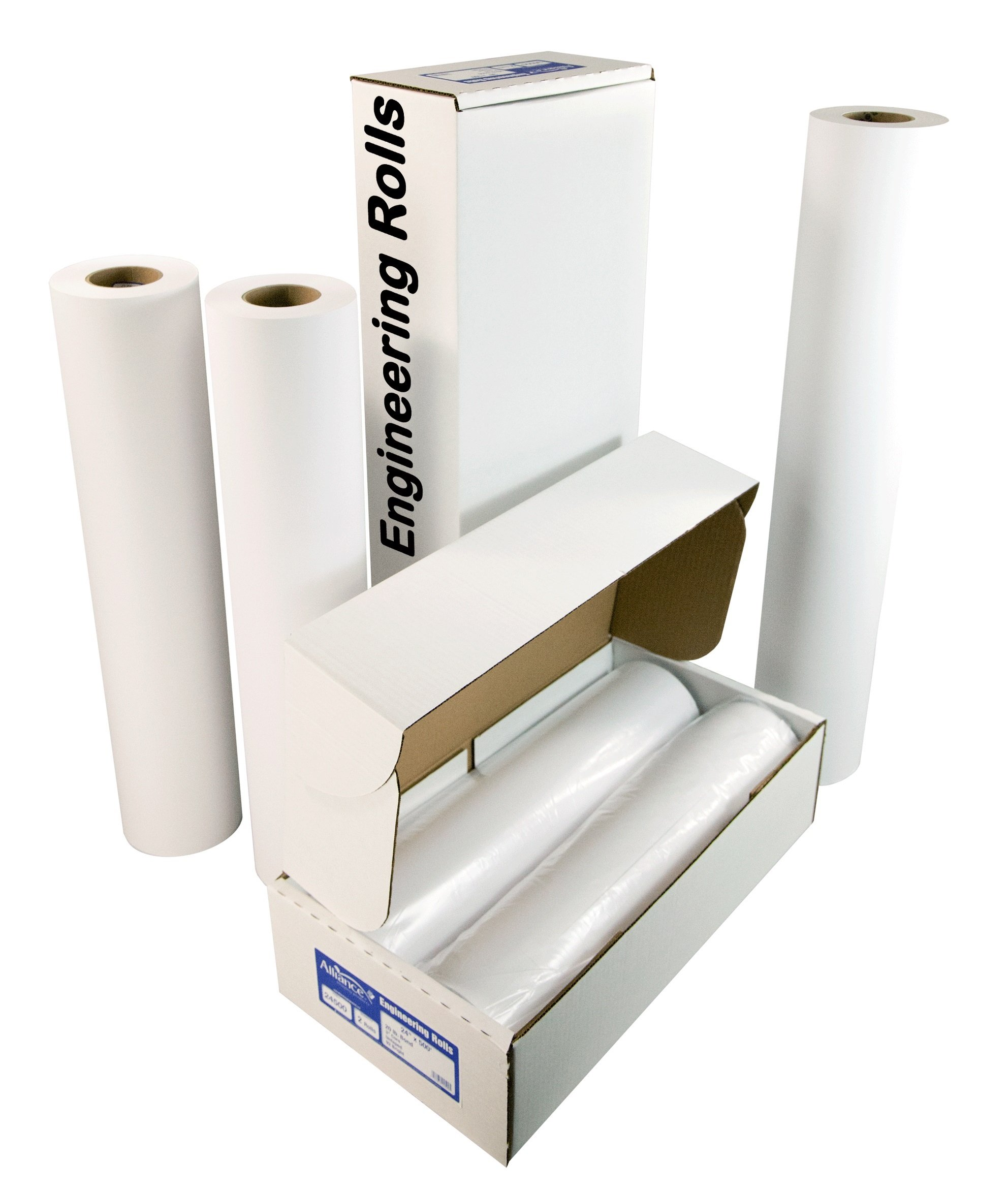 Alliance Engineering Roll Paper - 36'' x 500' 20lb. Bond, 92 Bright Untaped. 35 Cartons/Pallet - 70 Rolls Total