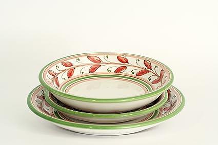 Piatti Ceramica Di Caltagirone.Set Di 3 Piatti In Ceramica Posto Tavola In Ceramica Per Servizio