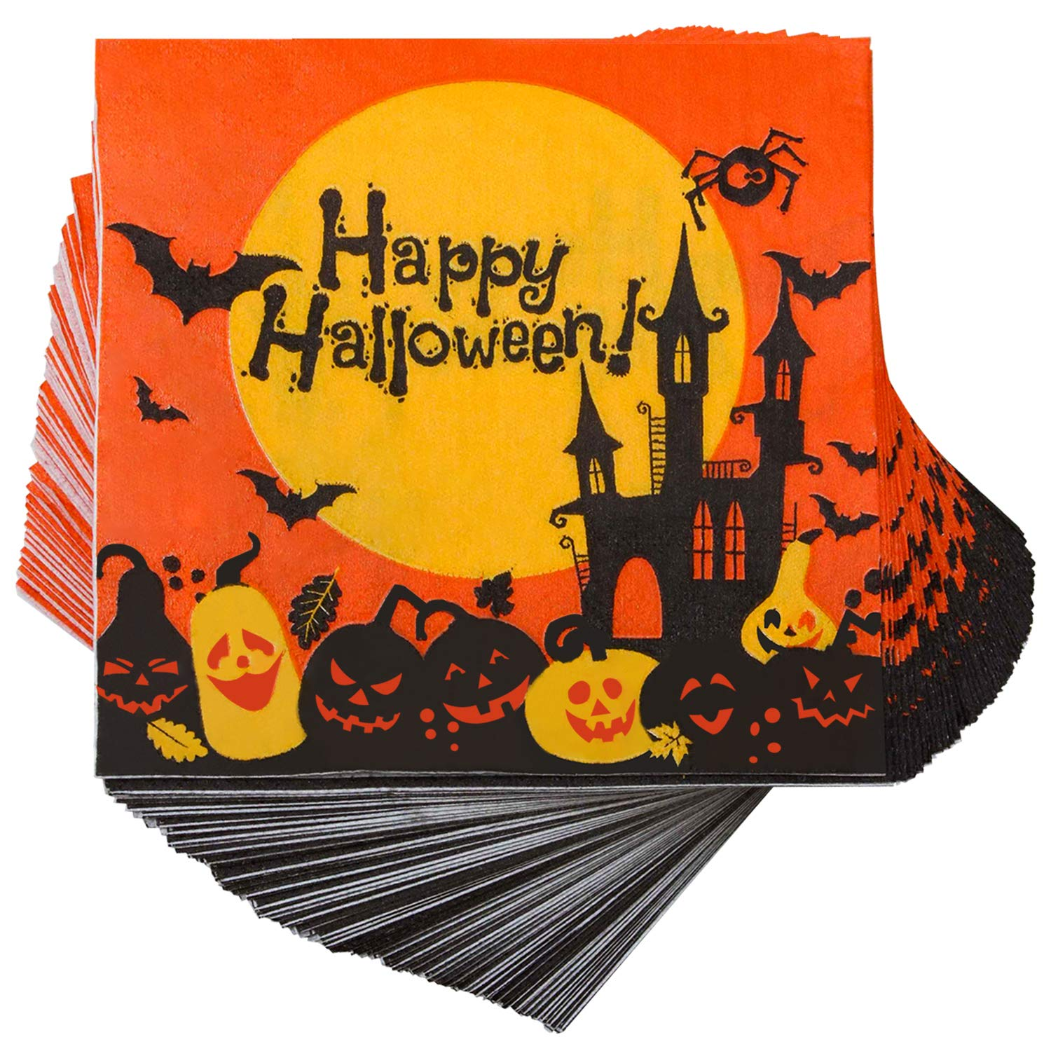 Elcoho 150 Pieces Halloween Disposable Beverage Paper Napkins Frightfully Fancy Cocktail Napkins with 2 Layers, 5 by 5 inches (set A)