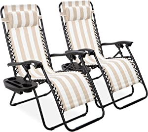 Best Choice Products Set of 2 Adjustable Steel Mesh Zero Gravity Lounge Chair Recliners w/Pillows and Cup Holder Trays, Tan Striped