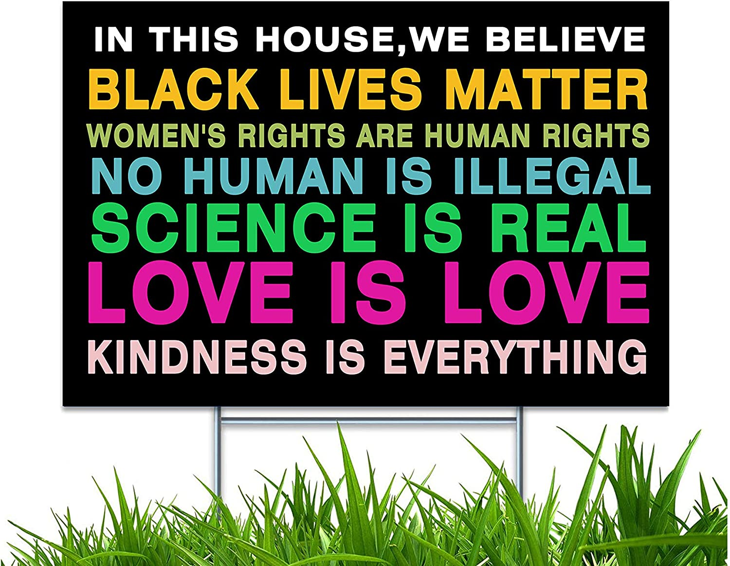 "Yard Sign with H-Frame Stakes In This House We Believe Sign Science Equality Human Rights UV and Weather Resistant Corrugated Plastic Sign 2-Sided Print for Patio Garden Outdoor Indoor Decor 18""X12"""