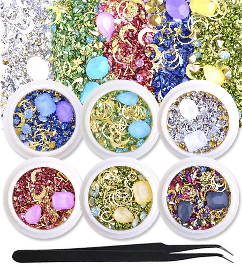 WOKOTO 6 Boxes 3D Nail Art Rhinestones And Crystals Set Mix Nail Studs Large Gems Colorful Stones Manicure Decoration With 1Pc Tweezers And Picker Pencil by WOKOTO