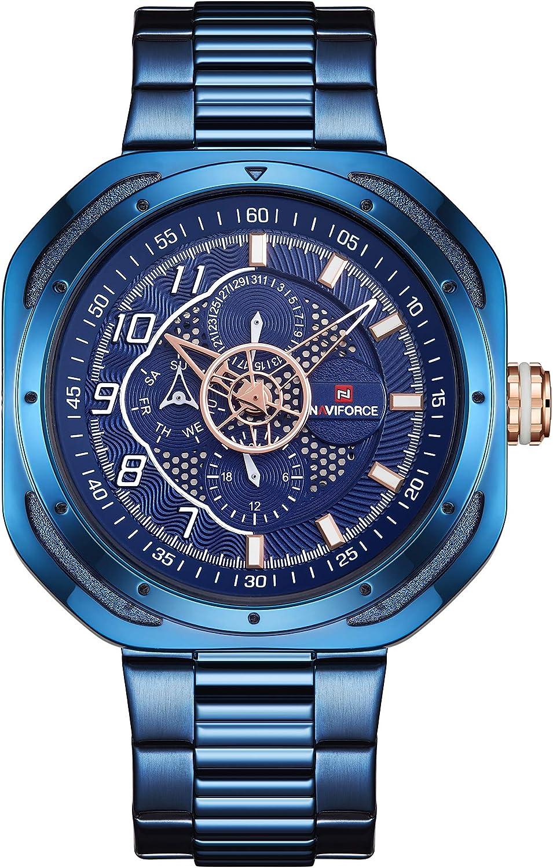 Naviforce NF9141 - Reloj de Pulsera para Hombre (Acero Inoxidable, Calendario, Fecha y día)