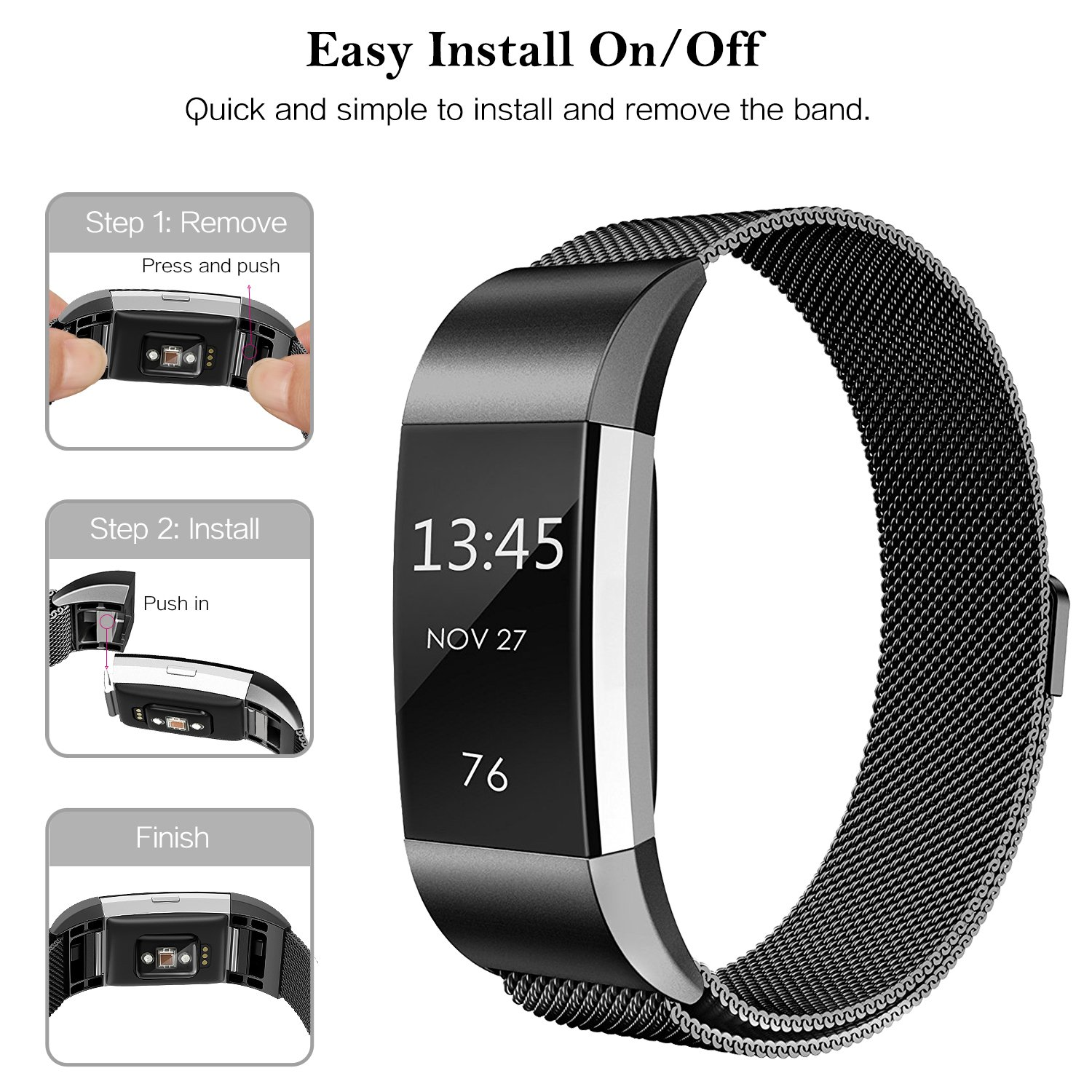 SWEES Metal Bands Compatible Fitbit Charge 2, Milanese Stainless Steel  Metal Magnetic Replacement Wristband Small & Large (5 5'' - 9 9'') for  Women