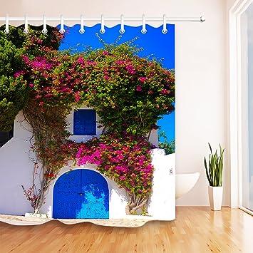 Schöne Arabische Blaue Tür, Mediterrane Architektur Polyestergewebe  Wasserdicht Badezimmer Dekor Duschvorhang Set Mit 12 Haken