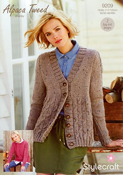 e09ebba95 Stylecraft 9209 Knitting Pattern Checkerboard Cable Cardigan and Jumper in  Alpaca Tweed Chunky  Amazon.co.uk  Kitchen   Home
