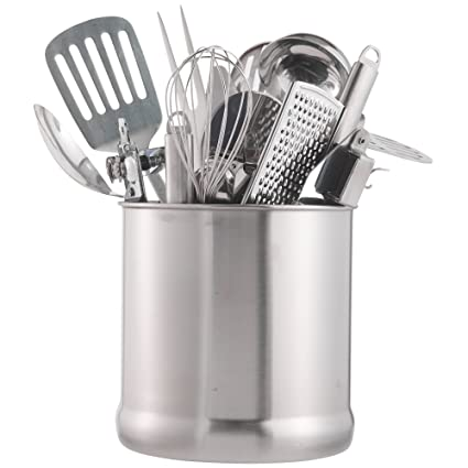 VonShef Stainless Steel Utensil Holder Large Capacity Organizer Caddy,  Great For Keeping Your Kitchen Tidy