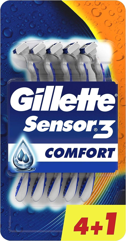 Gillette Sensor3 Comfort - Maquinilla desechable para Hombre, Hasta 10 Cómodos Afeitados por Maquinilla, 4+1 Uds