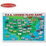 Melissa & Doug 翻转赢得旅游牌照游戏-木制美国地图游戏板