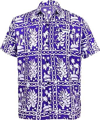 LA LEELA Shirt Camisa Hawaiana Hombre XS - 5XL Manga Corta Delante de Bolsillo Impresión Hawaiana Casual Regular Fit Camisa de Hawaii Mostaza: Amazon.es: Ropa y accesorios