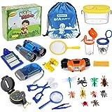 Bammax Outdoor Explorer Kit, Kids Adventure Kit with Binoculars, Flashlight, Compass, Magnifying Glass, Educational Nature Ex