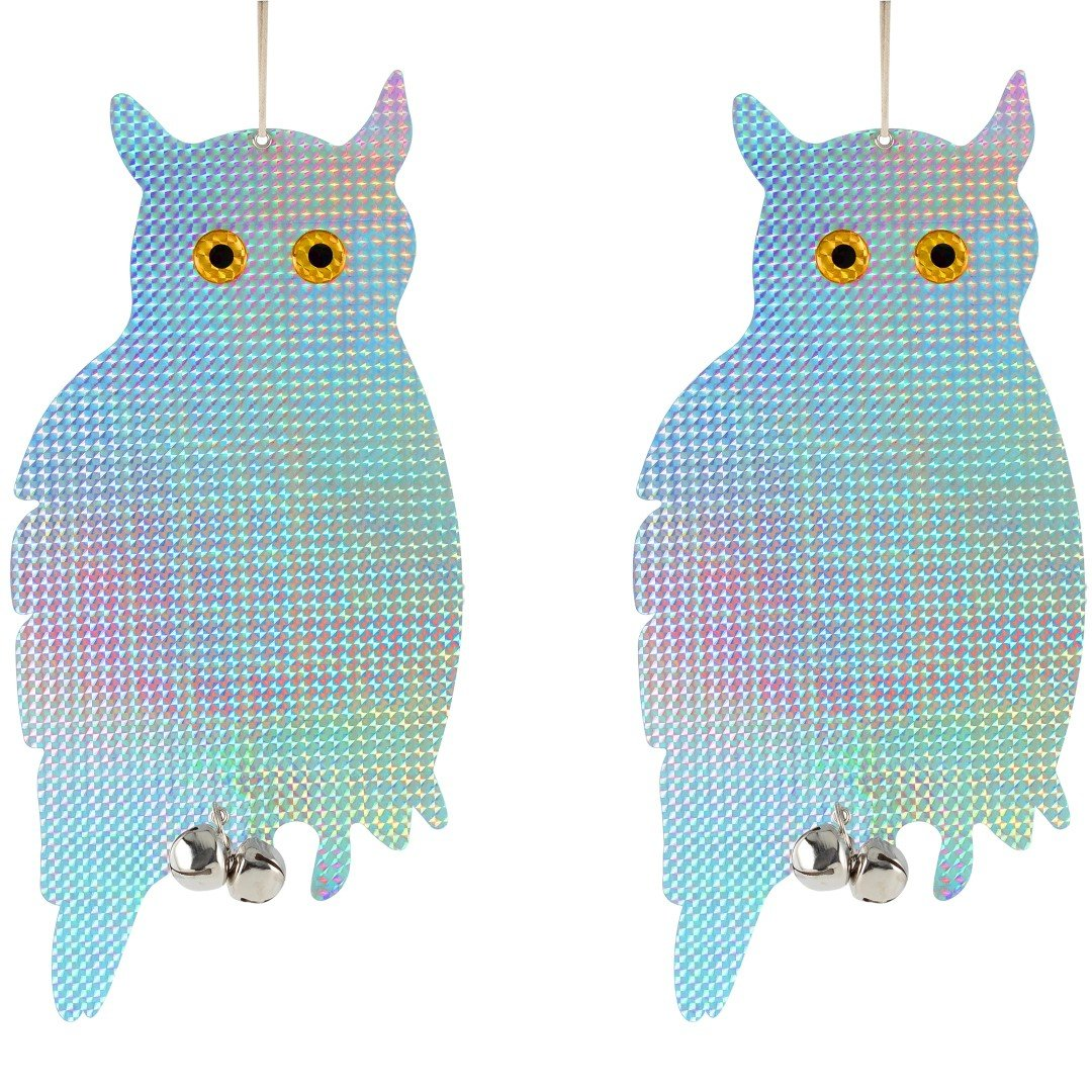 Bird Blinder Reflective Hanging Owl - Pest Repellent Control (2 Pack)