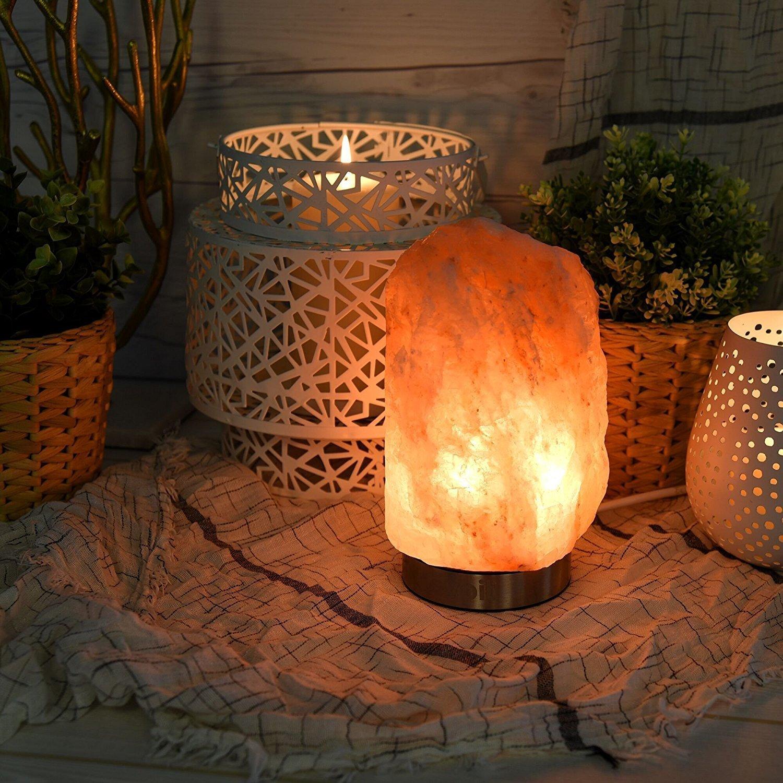 天然喜马拉雅水晶盐灯,散发迷人琥珀色光芒