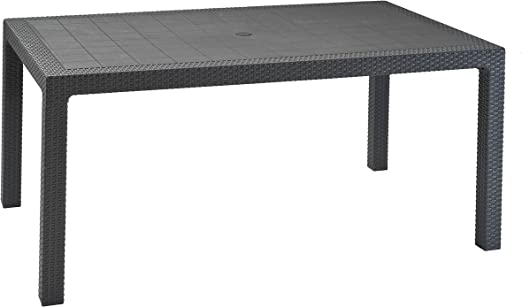 Oferta amazon: Keter - Mesa comedor exterior Melody de 6 plazas, Color grafito