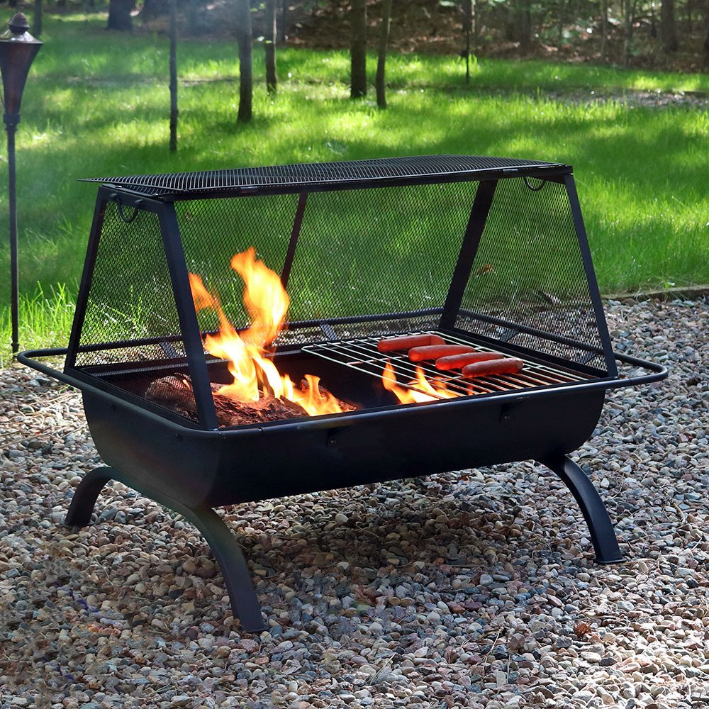amazon com sunnydaze 36 inch northland grill fire pit with
