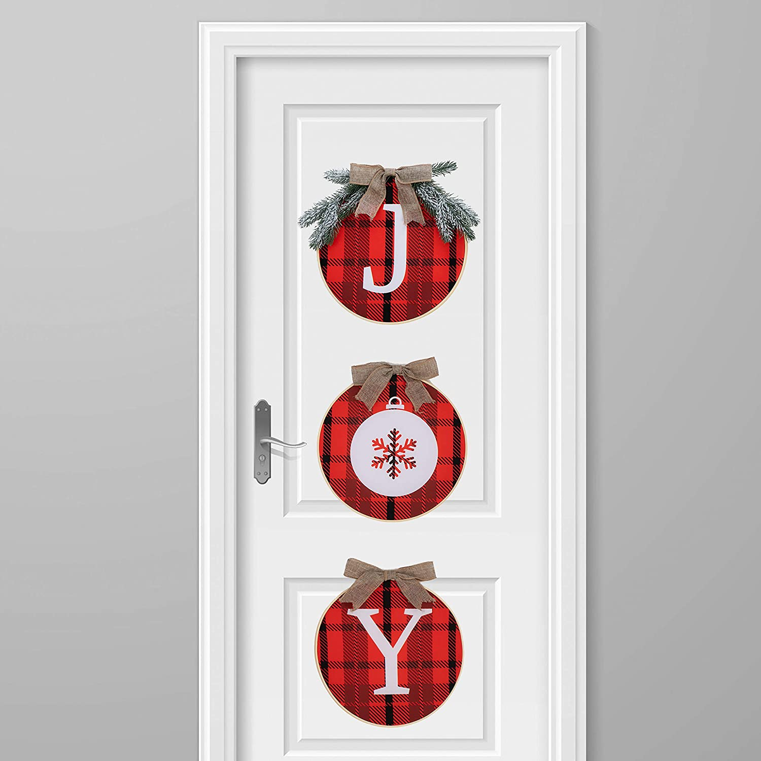 Joiedomi Christmas Joy Sign Buffalo Plaid Wreath for Front Door, Rustic Burlap Wooden Holiday Décor for Window Wall Farmhouse Indoor Outdoor Christmas Holiday Decorations