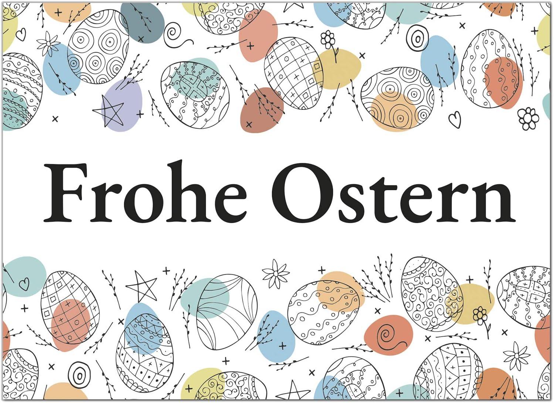 15 x Postkarten zu Ostern mit Umschl/ägen im Set//Osterkarten modern bunte Eier//Osterpostkarten