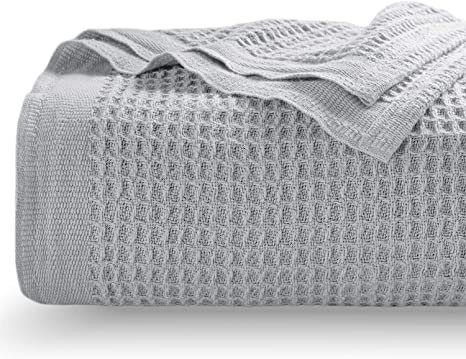 Cotton Bed Blanket Waffle Weave Breathable Warm for Winter Twin Queen King DH