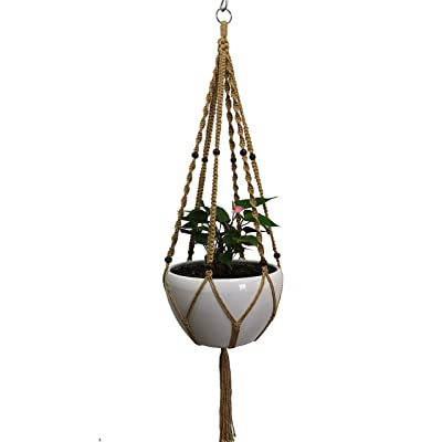 Plant Hanger Macrame Natural Hemp Rope Plant Hanger 6 Legs Plant Hanger 51 Inches for Indoor Outdoor, Living Room, Kitchen, Deck, Patio, High and Low Ceiling with Size of 10-12 inches Without The Pot: Garden & Outdoor