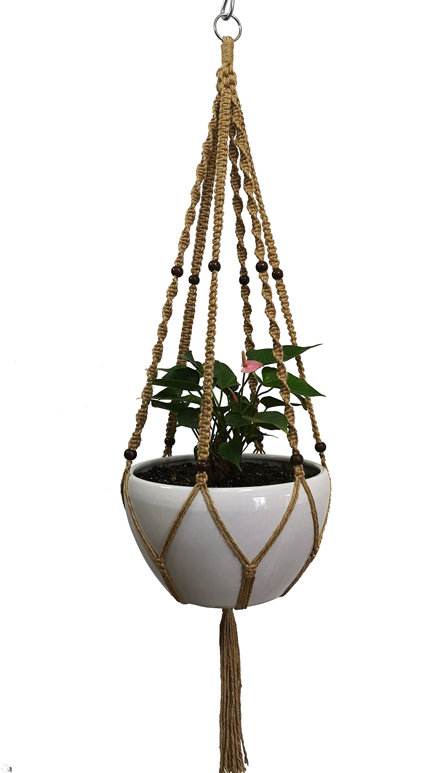 Plant Hanger Macrame Cotton 6 Legs 51 inches in Tan and Green Color for Indoor Outdoor, Living Room, Kitchen, Deck, Patio, High and Low Ceiling with Size of 10-12 inches Without The Pot (Brown-Jute)