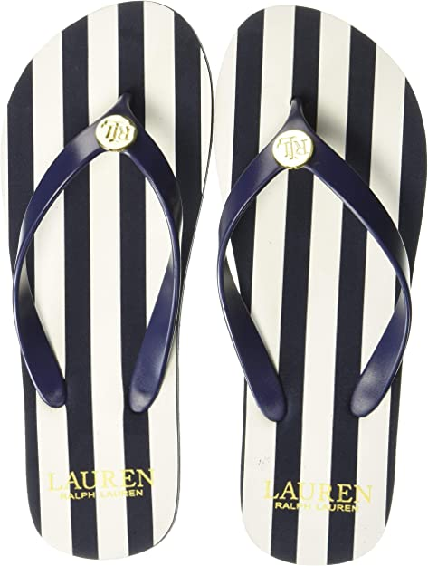 Lauren Ralph Lauren Elissa Black Flip-Flop Thong Sandals Sizes 6,7,10