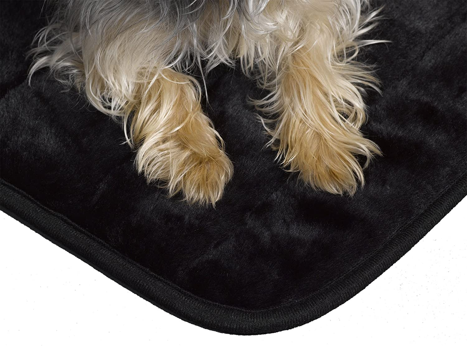 Midwest Quiet Time Deluxe Fur Pet Mat 49-Inch by 30-Inch (Black) 40448-BK