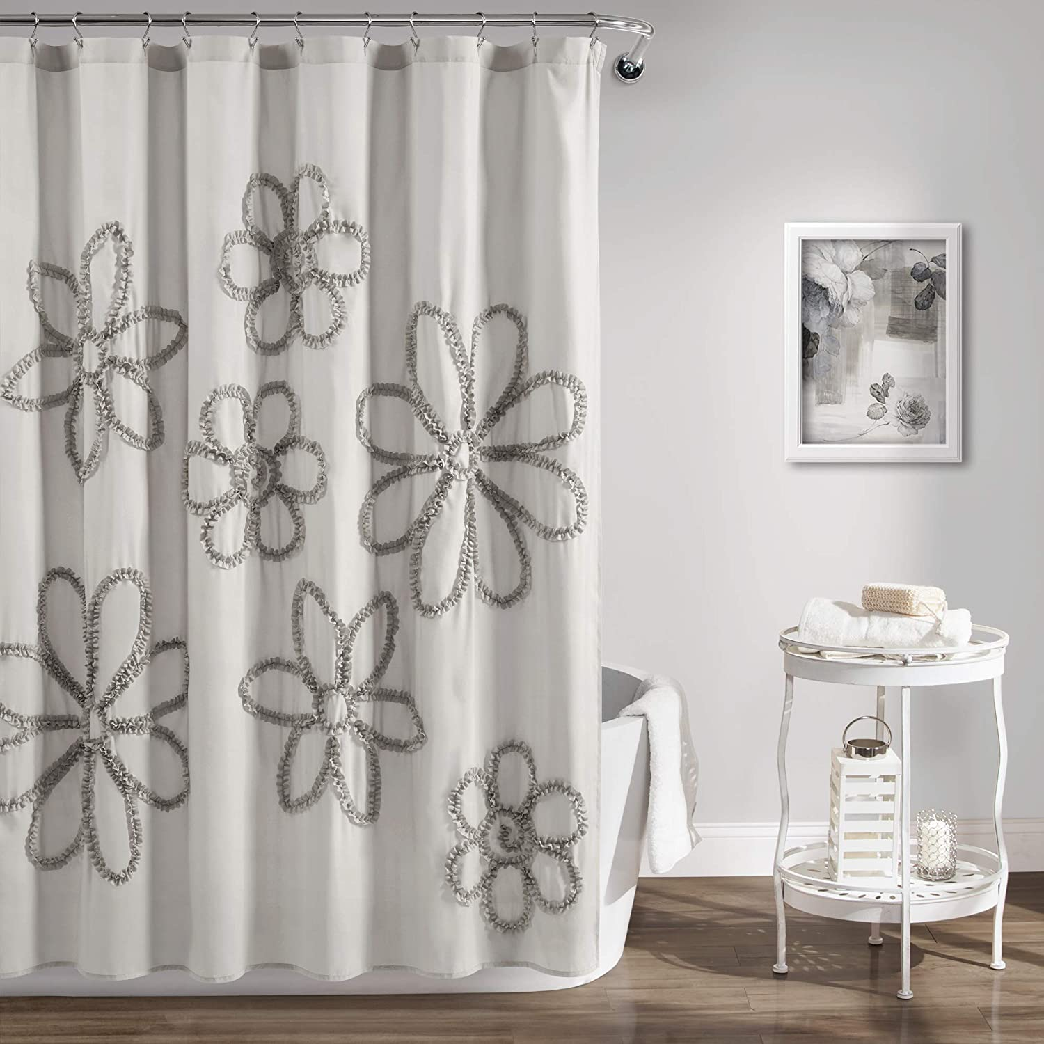 "Lush Decor Light-Gray Ruffle Flower Polyester Shower Curtain (72"" x 72"")"