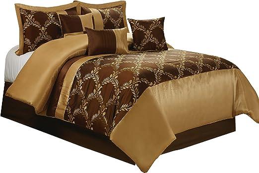 Amazon Com Bednlinens Hig 7 Piece Comforter Set Queen Chocolate