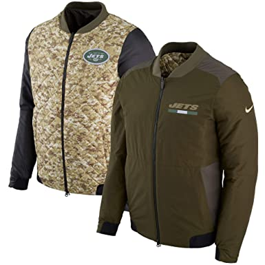 Image Unavailable. Image not available for. Color  Nike Mens NY Jets Salute  to Service Reversible Bomber Olive Camo ... 79df5598c