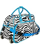 "Enimay Women's 21"" Roller Duffel Bag Shoulder Purse Retractable Handle Gym Travel Carry On"