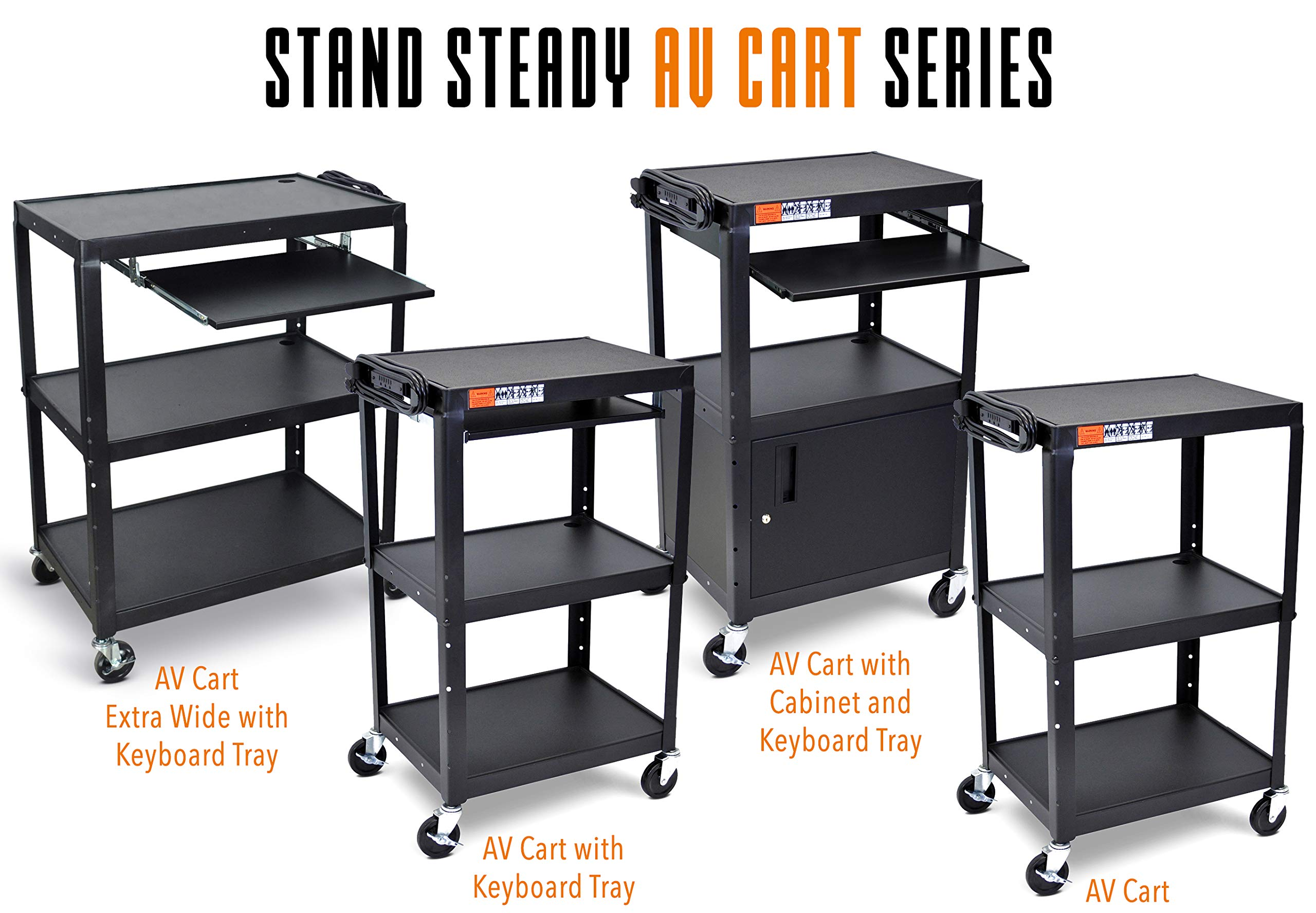 Line Leader Extra Wide AV Cart with Lockable Wheels -Adjustable Shelf Height- Includes Pullout Keyboard Tray and Cord Management! (42x32x20) (Extra Wide AV Cart - Black) by Stand Steady (Image #4)