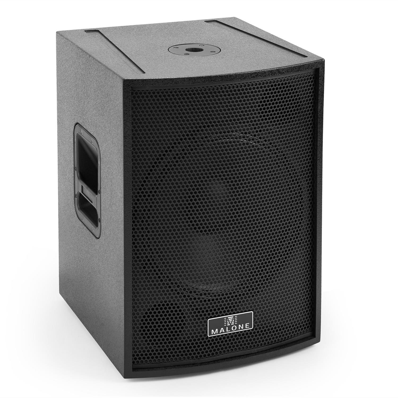 potencia de 200W RMS, reflector de bajos, caja MDF Malone BB6-15SUB-B Blackbox Subwoofer PA pasivo 15 negro