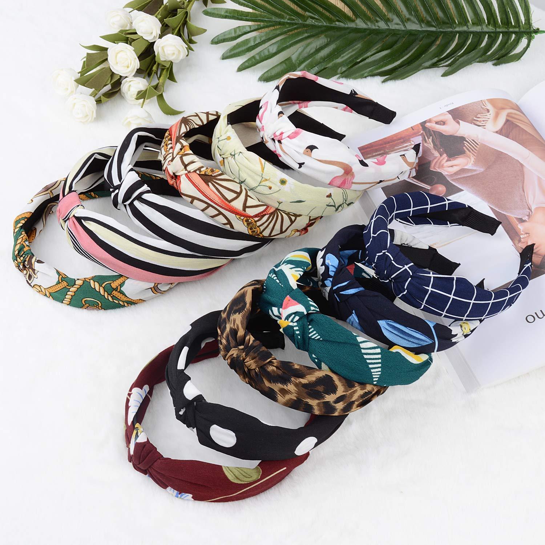 Knotted Headbands, Fascigirl 12PCS Twist Cross Knot Bowknot Cloth Hair Bands Turban Floral Print Hair Hoop for Women Girl Yoga Working