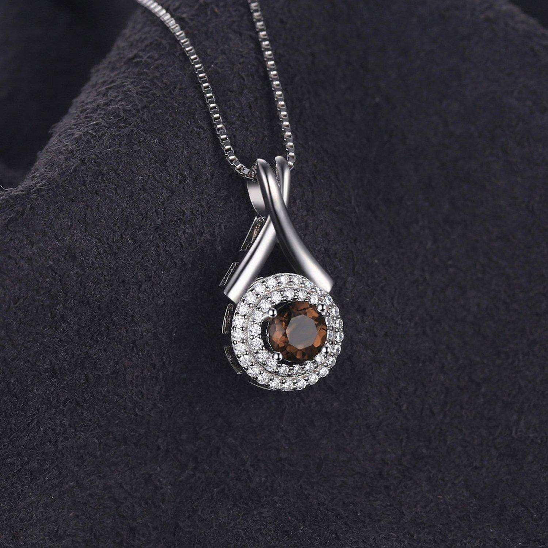MMC 0.65ct Natural Smoky Quartz Round Silver Pendants Necklaces