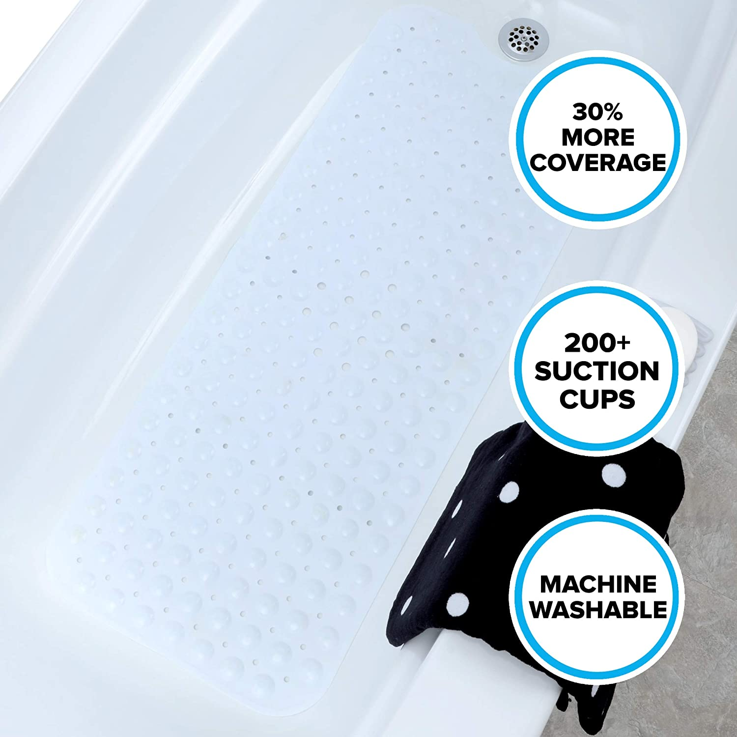 SlipX Solutions White Extra Long Bath Mat Adds Non Slip Traction to Tubs Showers 30% Longer than Standard Mats 200 Suction Cups 39 Long Extended Coverage Machine Washable