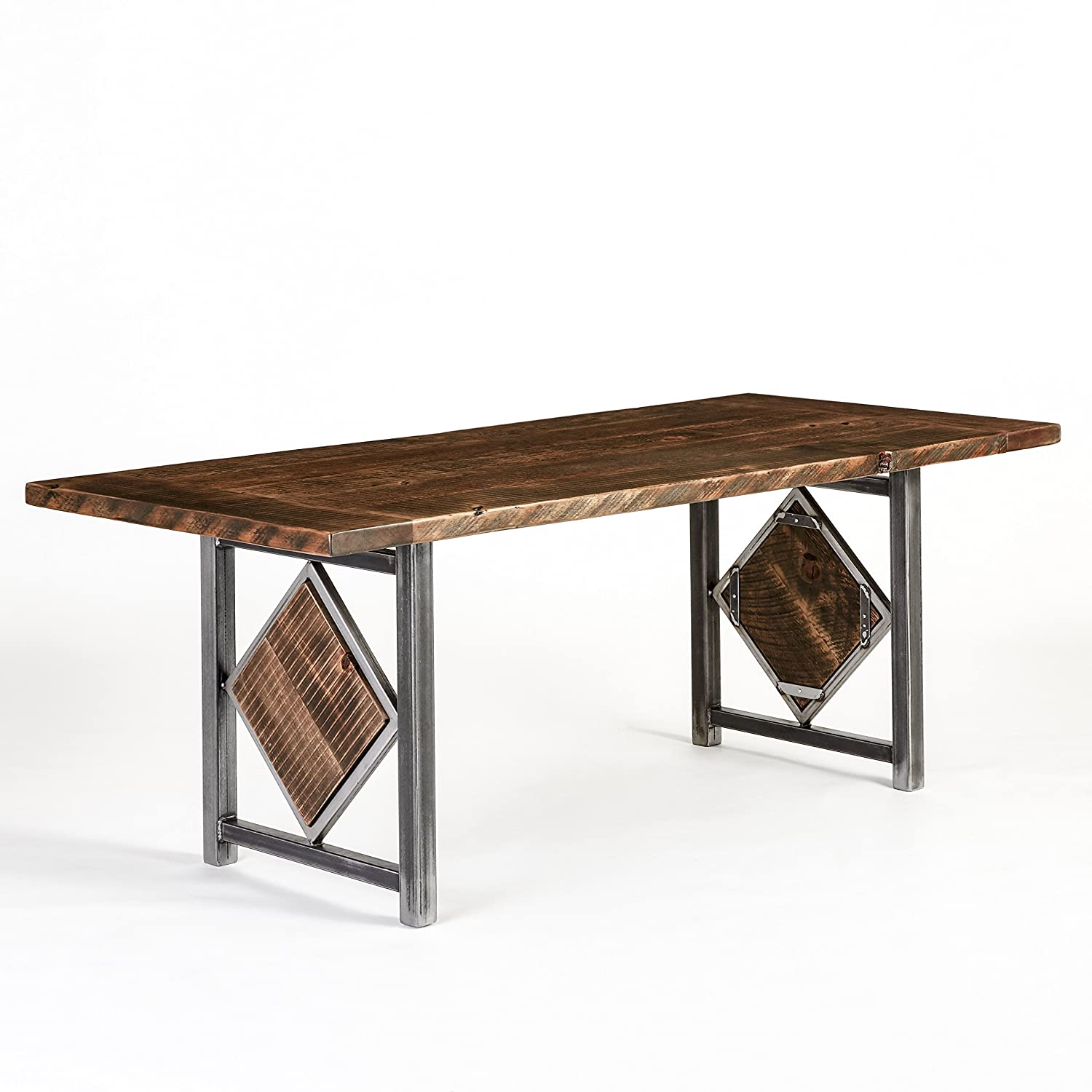 Amazon Com Wood Table Reclaimed Wood And Hand Forged Steel Customizable Conference Dining Table Diamond Base Made In Usa Urban Reclamations Handmade