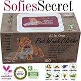 SofiesSecret Pet Wipes for Dogs+Cats and ALL other Pets, ALL IN ONE GROOMING, 100 Count, 100% Natural & Organic Extracts, Extra Thick, Ultra Soft, Extra Large,Hypoallergenic, Cruelty Free & Vegan