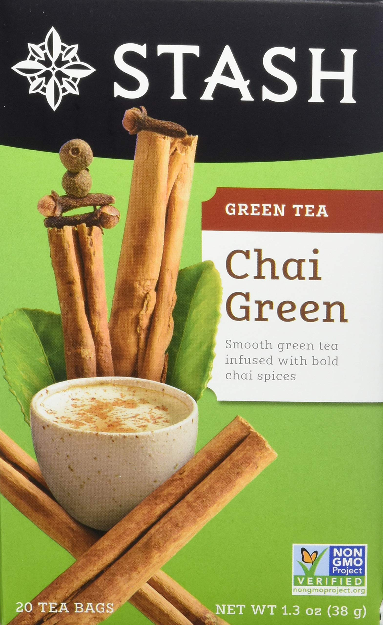 Stash Tea Green Chai Tea 20 Count Tea Bags in Foil (Pack of 6) Individual Spiced Green Tea Bags for Use in Teapots Mugs or Teacups, Brew Hot Tea or Iced Tea, Add Milk for Chai Latte by Stash Tea