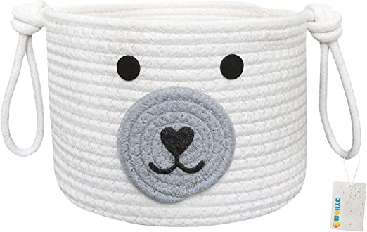 OYHOMO Kids Storage Basket Cotton Rope Woven Toy Basket Baby Nursery Storage Bins Cute Dog Basket for Home Decor Office Desk Organizer White
