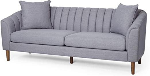 Amazon Com Susan Contemporary Fabric 3 Seater Sofa Cloud Gray
