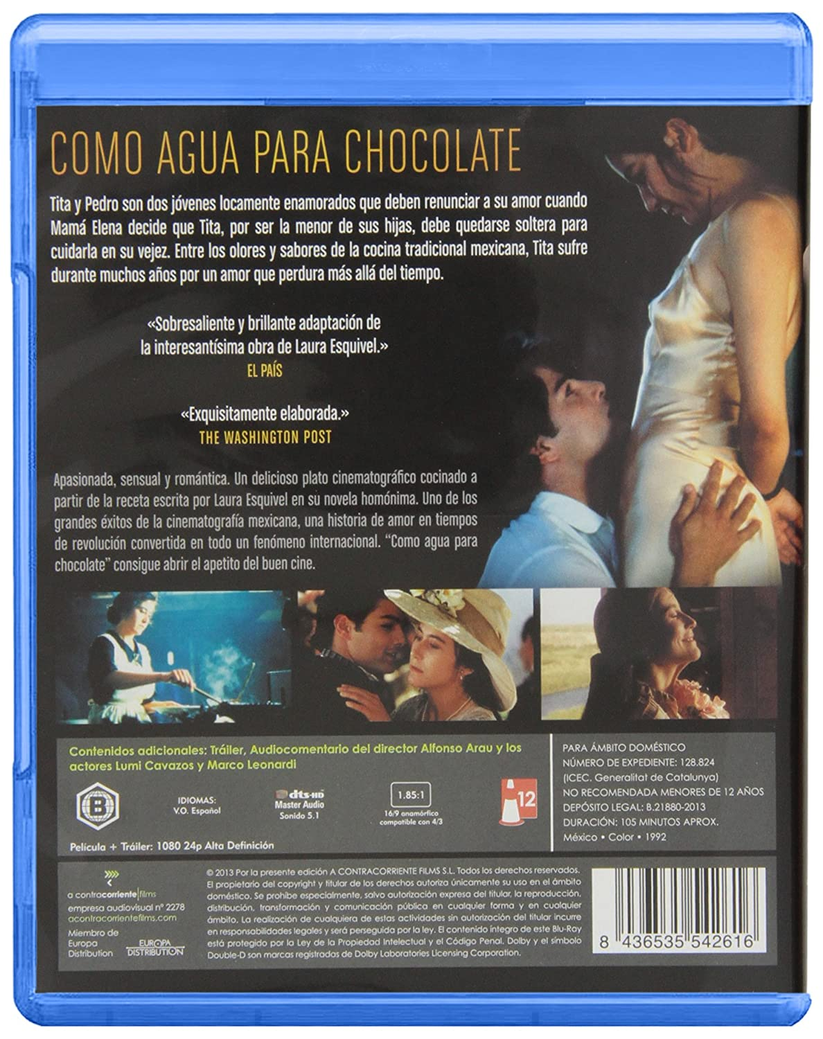 Amazon.com: Como Agua Para Chocolate (1992) (Blu Ray) (Import Movie ...